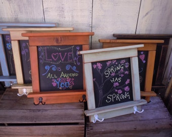 Chalkboard With Shelves - Mini Chalkboard Craftsman style country chic with shelves and hooks- Available in 12 Colors