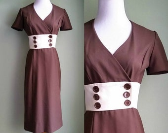 1960s Miss Mary Mac Dress - Vintage Cross Front Two Tone Dress - Small