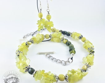 Olive Jade/Yellow Turquoise Necklace & Earring Set