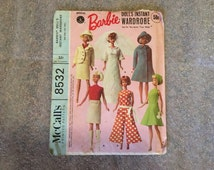 1966 Original Vintage BARBIE Doll Clothing Patterns McCall's Sewing Pattern #8532