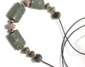 Leland Bluestone Sliding Stone Adjustable Necklace (rectangle)