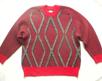 Vtg 80s Red Grey Striped Sweater Ribbed Diamond Pattern Geometric Pullover Unisex Jumper by Dorina Mens Medium