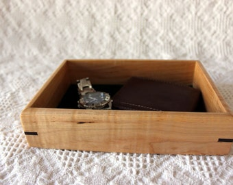 Wooden Valet Box - Tray or Dresser Box - Curly Ambrosia Maple with Walnut Accent