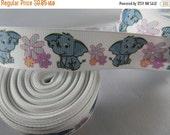 elephant ribbon, baby elephant ribbon, 7 8 Ribbon, blue elephant ribbon, RN14336