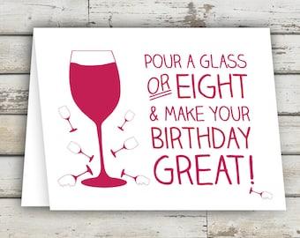 Birthday Card, Birthday Card Funny, Funny Birthday Card, Card For Friend, Birthday Card Friend, Birthday Wine, Birthday Card For Her