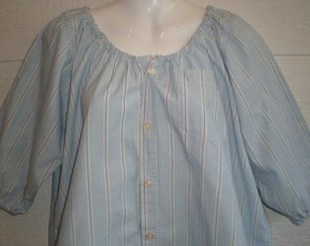 Soft color Peasant Blouse upcycled from a men's shirt, 48 inch Large, light blue stripe, loose shirt, ren faire, boho