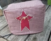 Star Toaster Cover Primitive Rustic Burgundy Cream CHoose Size