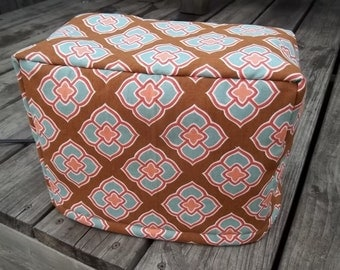 Toaster Cover Brown Blue Orange Duck Cloth Quilted Lined