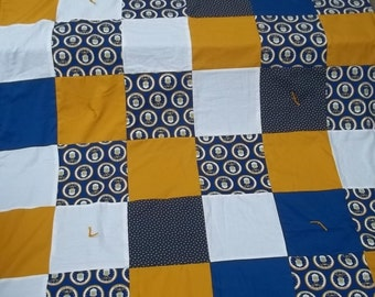 Air Force Blanket United States Throw Reversible Quilt Blue Gold White Stars Patriotic