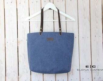 Blue Canvas Handbag, Shoulder bag tote, Blue handbag, Blue canvas bag, Canvas tote bag zipper, Shoulder Bags