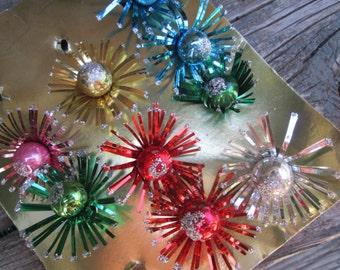 Vintage Japan Mercury Glass & Glitter Tinsel Christmas Gift Ties