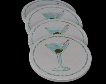 Martini Coasters - Modern Bar Ware Design - Absorbant Thirsty Stone Drink Rests - Set of Four - 4 in Box - Vintage Home Kitchen Decor