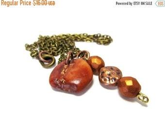 ON SALE Red Raw Jasper Natural Gemstone Beach Stone Necklace, Bronze 24 Inch Chain, Copper Beads, Lake Michigan Stone, RUSTIC Red