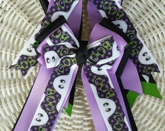 Halloween Boo Ghosts Equestrian Girl Horse Show Bows Purple Black Green