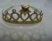 Gold Infant to Toddler Princess Crown Headband - Tiara Headband - Gold Headband - Glitter and Bling Headband - Elastic/Stretch Headband
