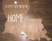 Custom, Handmade State and City Wooden Sign, Coordinates of Home Town