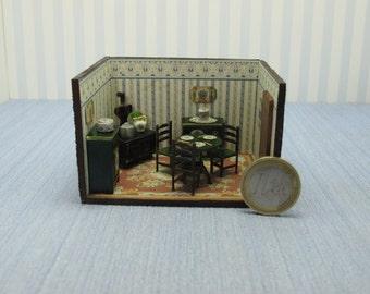 Dollhouse miniature  1/4 1:48 QS Quarter Inch Scale Furniture OOAK diorama 1,48th quarter inch scale kitchen handmade