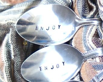 Hand Stamped Napkin Rings- ENJOY