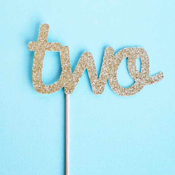 Two Cake Topper - Glitter - First Birthday. Two Cake Topper. Birthday Party. Second Birthday. 2nd Birthday. Gold Glitter Cake Topper.