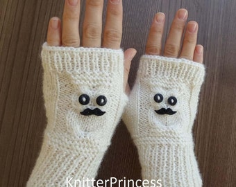 Knit owl gloves with mustaches, owl arm warmers, owl fingerless gloves, Valentines day gift, womens gloves, mens gloves, animal gloves