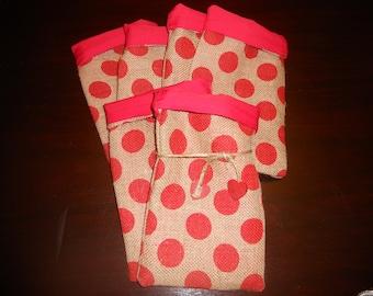 Burlap Polka Dot VALENTINE GIFT FAVOR Bags