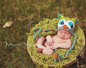 Crochet Owl Hat - Celadon green, gray, orange and teal - Photography Prop - Newborn to Adult - Owl hat - Baby owl hat - Turquoise - Orange