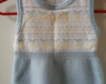 Vintage one piece knit overalls, baby blue