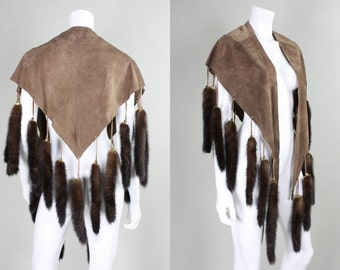 1970's Suede Cape with Fur Tails