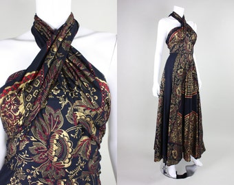 1970's Cotton Maxi with Gold Screenprint