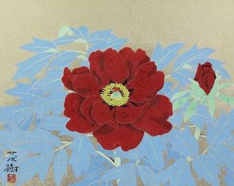 Japanese Fine Art Wall Hanging Scroll Painting Peony Flower Kakejiku – 1601081
