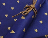 Gold Hearts on Hand made and Fair Trade Lokta Paper, Cornflower Blue, Valentine's Day
