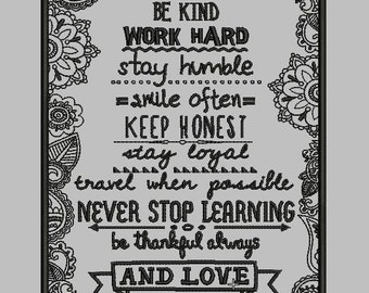 Motivation Quote - Life Lessons - Embroidery Design (2 Sizes)
