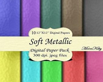 "ON SALE 65% OFF Instant Download - Digital Scrapbook Paper Pack - Soft Metallic - Mk43 - 10 12""x12"" Digital Papers - Collage Sheets - Scrapb"