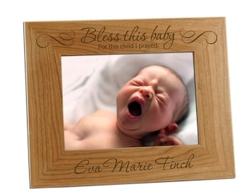 Engraved Bless This Baby Wooden Photo Frame