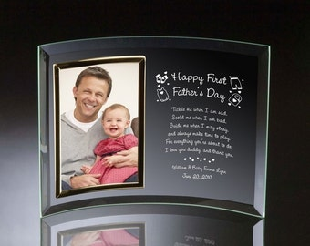 Engraved First Father's Day Curved Glass Photo Frame