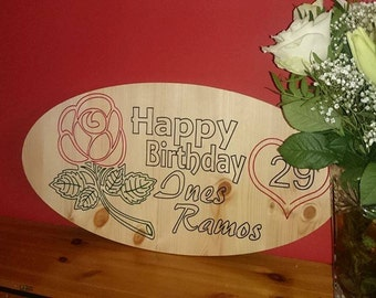 Happy birthday Wood sign engraved