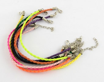 10pc mix color Trendy Braided Imitation Leather Bracelet Making-7538L