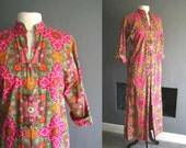 60s Thai Cotton Maxi Dress / Duster Coat / Robe S/M