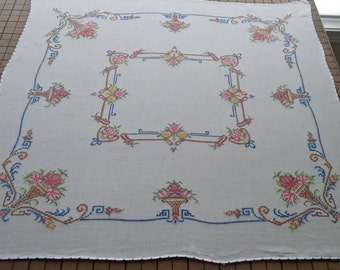 "Vintage Embroidered Tablecloth 33"" square"
