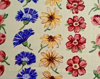 Vintage Bright Floral Stripe Tablecloth 52 inches wide by 108 inches long
