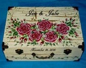 Distressed Wooden Wedding Keepsake Box Painted Wood Suitcase Box Gold Memory Card Box Personalized Bridal Shower Golden Anniversary Gift