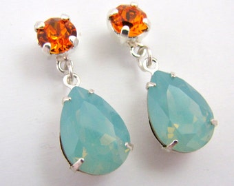 Tangerine and Mint Opal Vintage Swarovski Crystal Earrings Cushion Pear