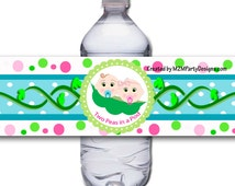 Two Peas in a Pod Twins Baby Shower Water Bottle Label Wrapper Printable Digital Instant Download Superhero SET of 5