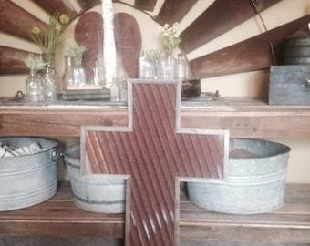 Reclaimed wood and tin cross