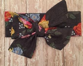 Midnight Floral Self Tie Headwrap