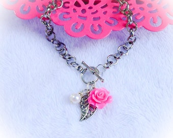 Rose Bracelet Pearl Toggle Floral Charm Jewelry