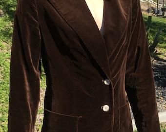 Evan Picone Brown Velvet Blazer