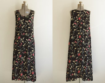 1990s Honors Floral Wheat Sheaf Rayon Sleeveless Midi Dress Size L