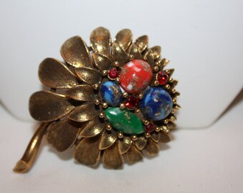 Vintage Brooch Flower Faux Gemstone  1950s Jewelry