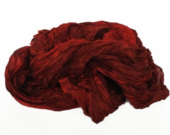red silk scarf - Ruby Brick - different shades of red, brick red, warm dark red silk scarf